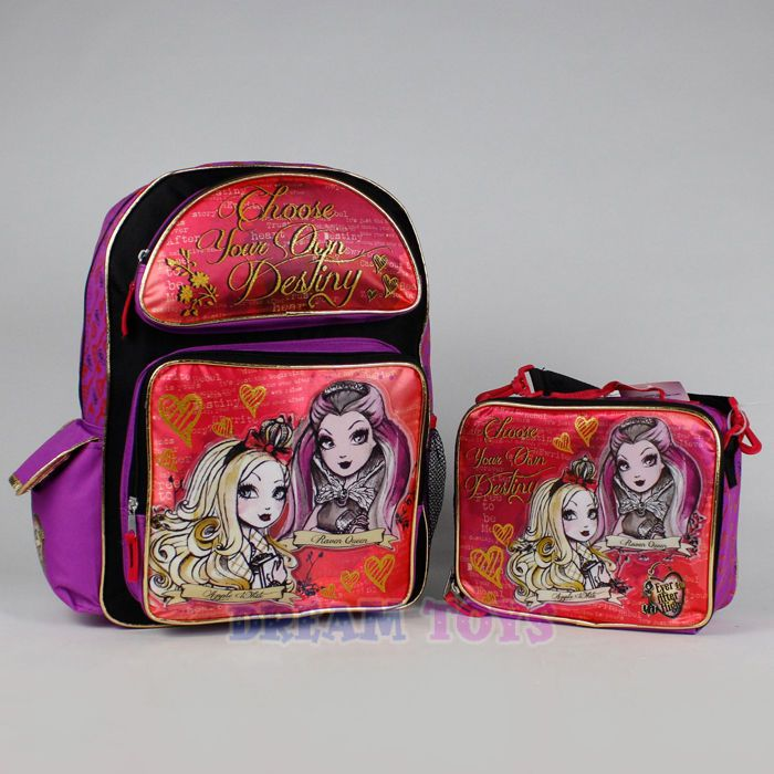 """Ever After High Large Backpack and Lunch Box Set - Destiny 16"""" Girls School Bag"""