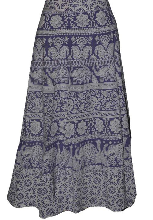 Violet Coloured Block Print Jaipuri Wraparound Skirt  http://alicolors.com/index.php?route=product/product&product_id=1172