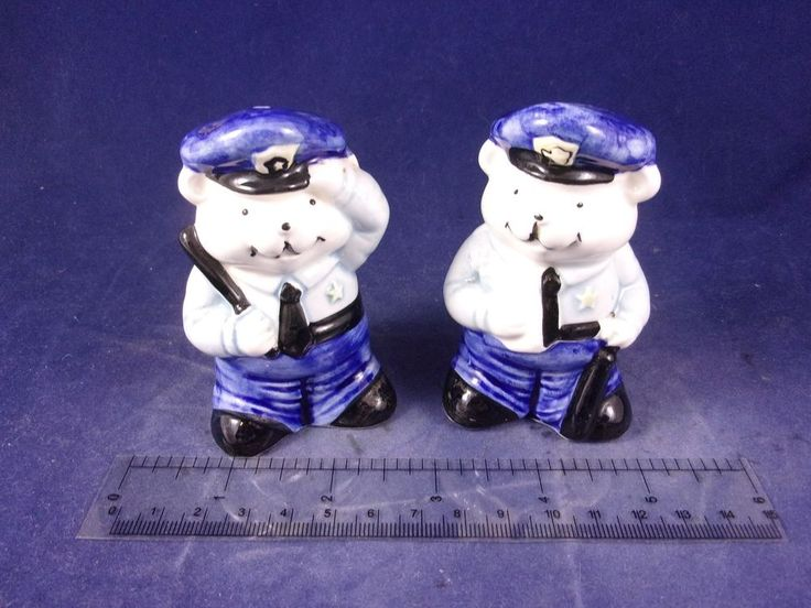 Delft-like Teddy Bear Police Cop Sheriff Officer Salt Pepper Shakers 1870B18 http://stores.ebay.com/snpshakers