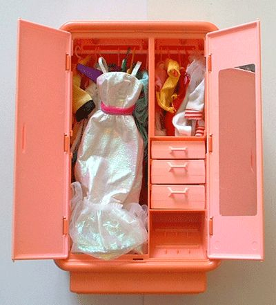 for Barbie Dolls barbie wardrobe furniture with dolls dress , shoes 1970`s-80`s