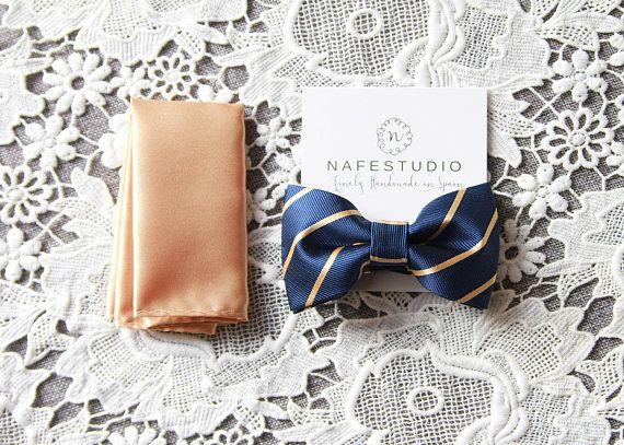 Men's Bow Tie Pre-tied Bow Tie For Men  Gold Bow Tie Navy