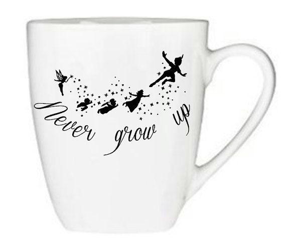 Never Grow Up Peter Pan Inspired Coffee Mug, Tinker Bell, TInkerbell Peter Pan, Disney, Tinkerbell, Never Grow Up, Neverland, Cute, Gift Idea, Birthday, Mug, Coffee, Cup
