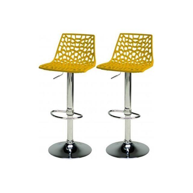 Lot De 2 Tabourets De Bar Ajustables Jaune Smart Home Decor Furniture Stool