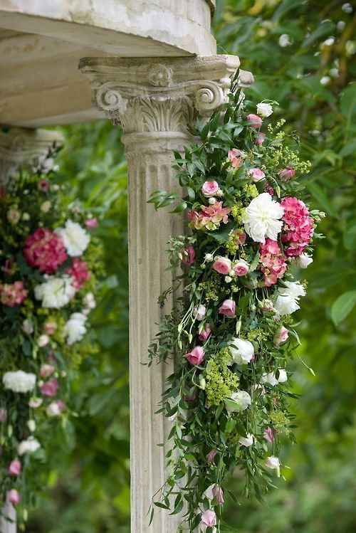 Trailing roses on column