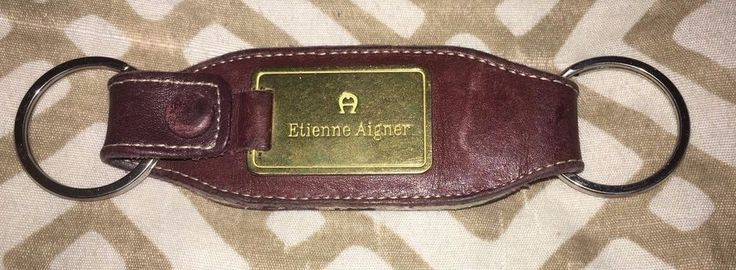 Etienne Aigner Key Ring/Fob Leather With Brass Logo    eBay