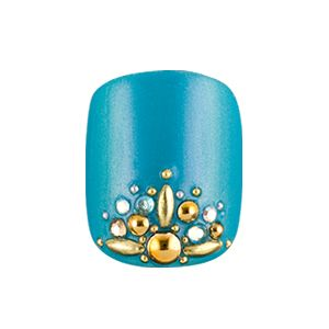 Fancy blue nail color with gold gems