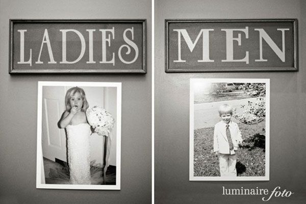 Hang baby photos on the the restroom doors at your wedding reception!