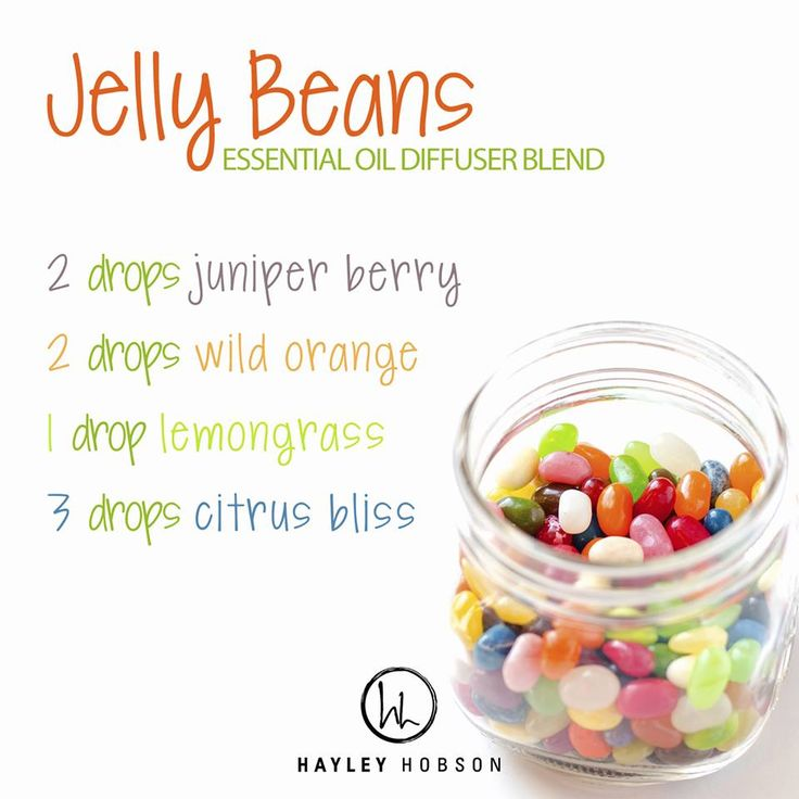 You may not want to eat jelly beans (they're not exactly healthy, right?), but that doesn't mean you can't enjoy the delicious smell of them! This essential oil diffuser blend does exactly that, while providing the benefits of Juniper Berry, Lemongrass, Wild Orange, and Citrus Bliss essential oils! This combination cleanses and purifies the air while helping to reduce stress and uplift the mood. Besides, who can be stressed-out when the air smells like Jelly Beans! www.hayleyhobson.com