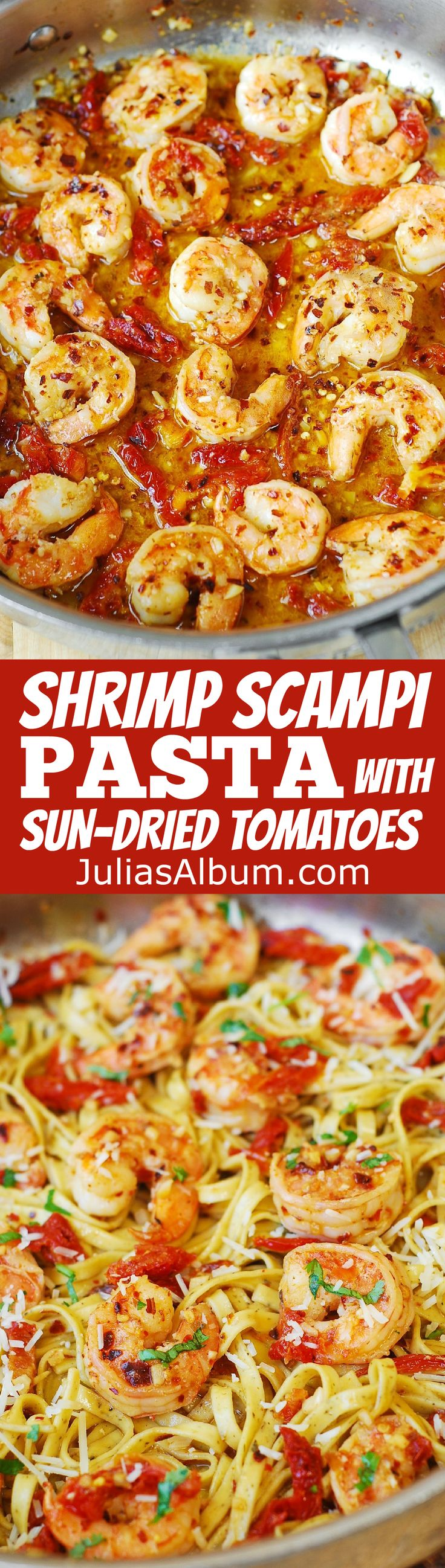 Shrimp Scampi Pasta with Sun-Dried tomatoes #SUMMER #Italian #Mediterranean #recipe