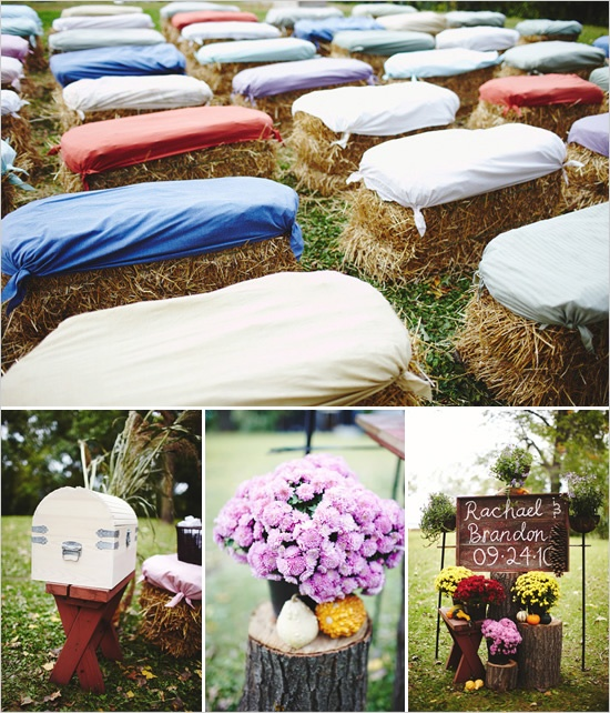 What a great, budget-friendly seating idea for a shabby chic wedding! Love this!