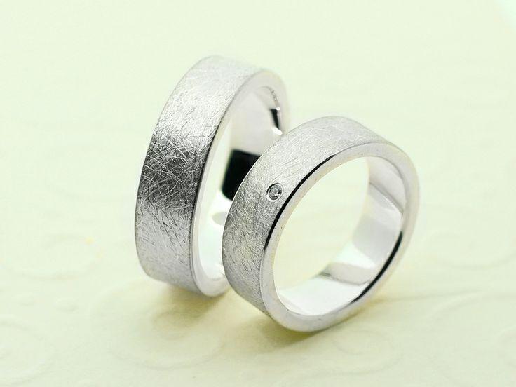 Partner- Eheringe - Trauringe EISMATT aus 925 Silber, 6mm breit - ein ...