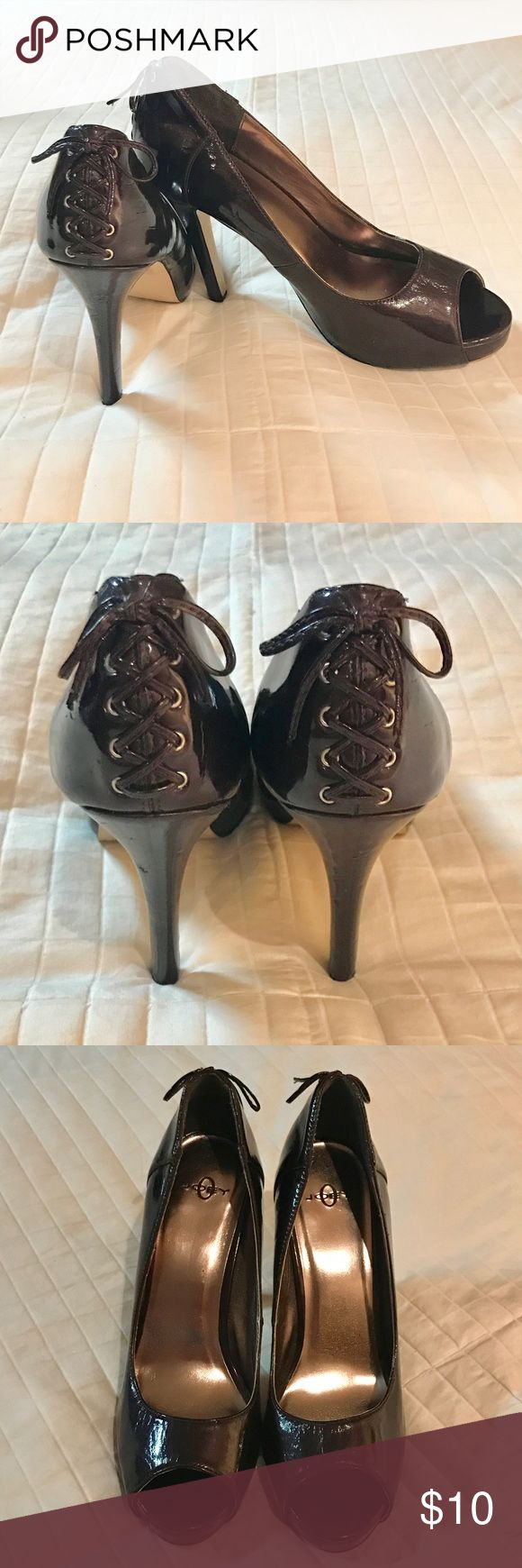 """Eggplant Patent Leather Peep Toe w/ Lace-up detail Previously loved. A few minor bumps & dings and one hardly noticeable piece of material missing from inner back left shoe as shown in the close up. Can't even see it when on and standing. Super sturdy and provide great support for such a high heel (5""""). Man made materials. Joey O Shoes Heels"""