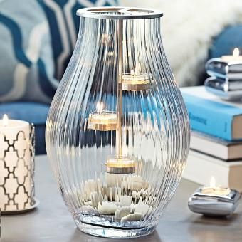 Optic Shimmer Tealight Hurricane by PartyLite Candles