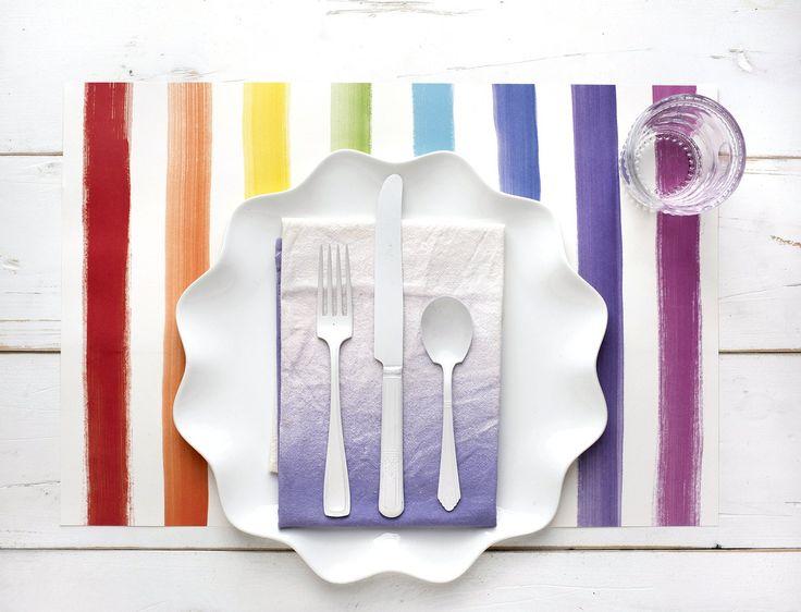 Vibrant Painted Stripe Paper Placemats