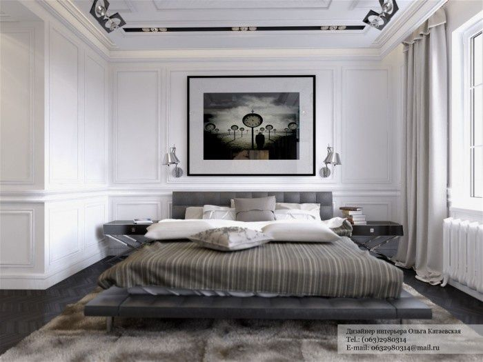 Mixed Interior Style Ideas Grandiose White Bedroom Design With Lavish Bed And Fur Rug Also Table Wall Lamps
