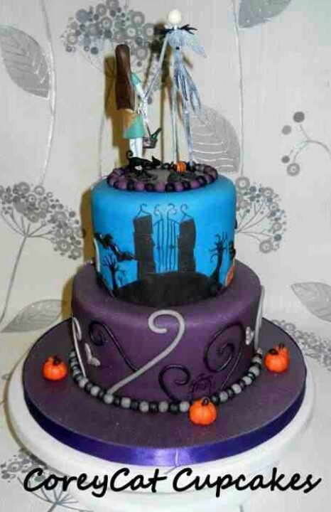 Nightmare before christmas themed two tiered wedding cake, Jack Skellington, Sally, moons, hills, pumpkins and bats!