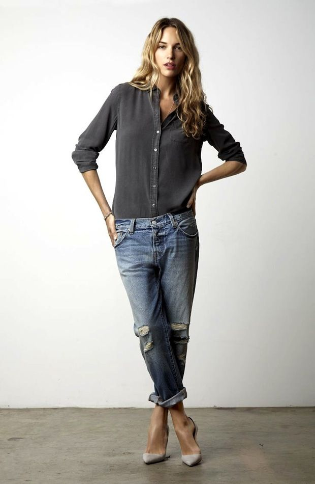 beach waves, dark grey button-down, ripped boyfriend jeans & suede pumps #style #fashion #casualchic