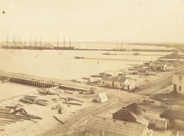 Sandridge (Port Melbourne) Pier in 1858.