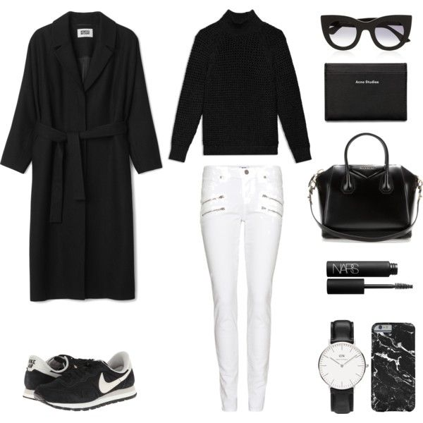 Black-and-white by fashionlandscape on Polyvore featuring Mode, Theory, Paige Denim, NIKE, Givenchy, Daniel Wellington, Thierry Lasry, Acne Studios and NARS Cosmetics