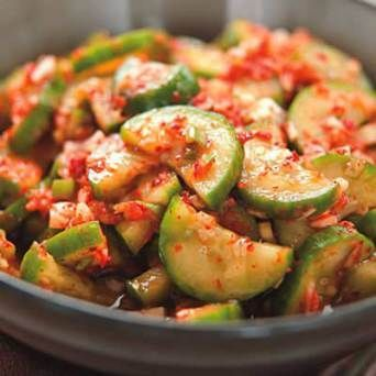 Quick Cucumber Kimchi Ingredients 2 pickling cucumbers or other small cucumbers (about 8 ounces) 1 teaspoon kosher salt 2 cloves garlic, finely chopped 2 scallions, white and light green parts only, finely chopped 1 1/4-inch piece fresh ginger, peeled and finely chopped 2 tablespoons rice vinegar 1 tablespoon Korean chile powder (see Note) 2 teaspoons sugar 1/2 teaspoon fish sauce (see Note)