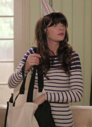 Zooey Deschanel's Navy and white striped long sleeve top on New Girl.  Outfit details: http://wwzdw.com/z/3123/