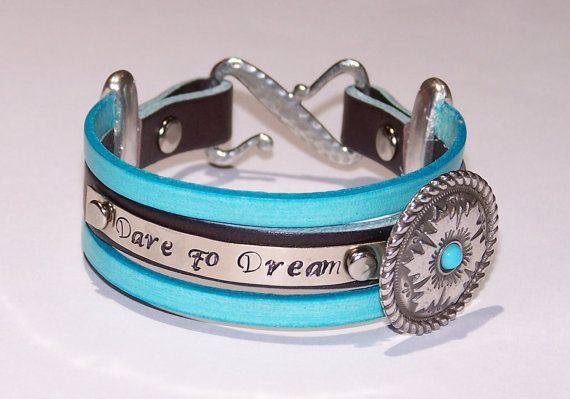 Dare to Dream Metal Stamped Aqua and Brown Leather Bracelet  -  Hand Stamped Womens - Inspirational Bracelet -