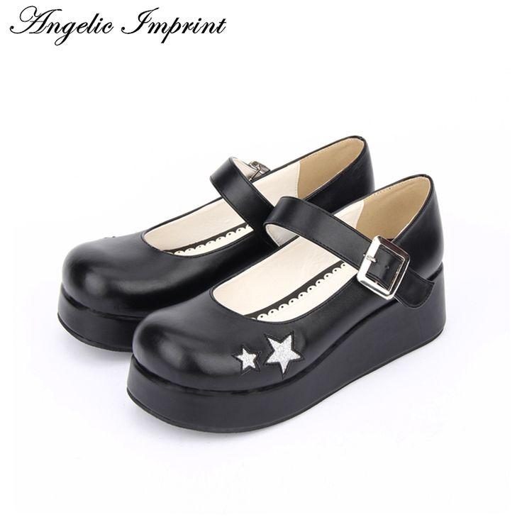 Calzado clásico Lolita Footwear Square Toe Slip On Platform Chunky Heel Lolita Shoes VKlm1