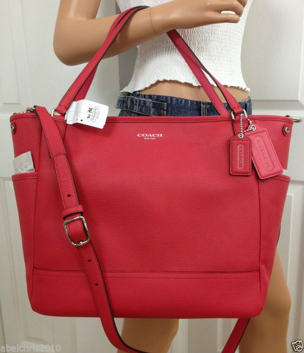 NWT COACH PINK RED BABY DIAPER SAFFIANO LEATHER TOTE LAPTOP CROSSBODY BAG  PURSE #Coach #