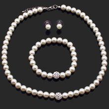 nieuwe mode crème wit kristal cluster parel bal kralen 8mm dikke bib ketting armband oorbellen set voor vrouwen sieraden pns602(China (Mainland))