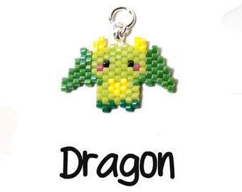 Dragon Peyote Stitch Pattern, Delica Seed Beads | DIGITAL DOWNLOAD