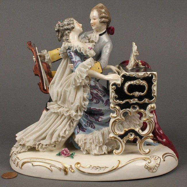 what does dresden figure | 614: Dresden Porcelain Lace Figurine, music scene