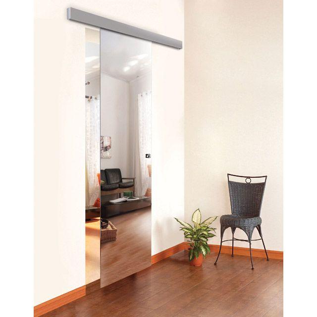 porte seule en verre miroir reflecto 93cm castorama
