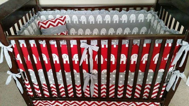 Alabama roll tide elephant red white and grey crib bedding nursery  Link in bio!