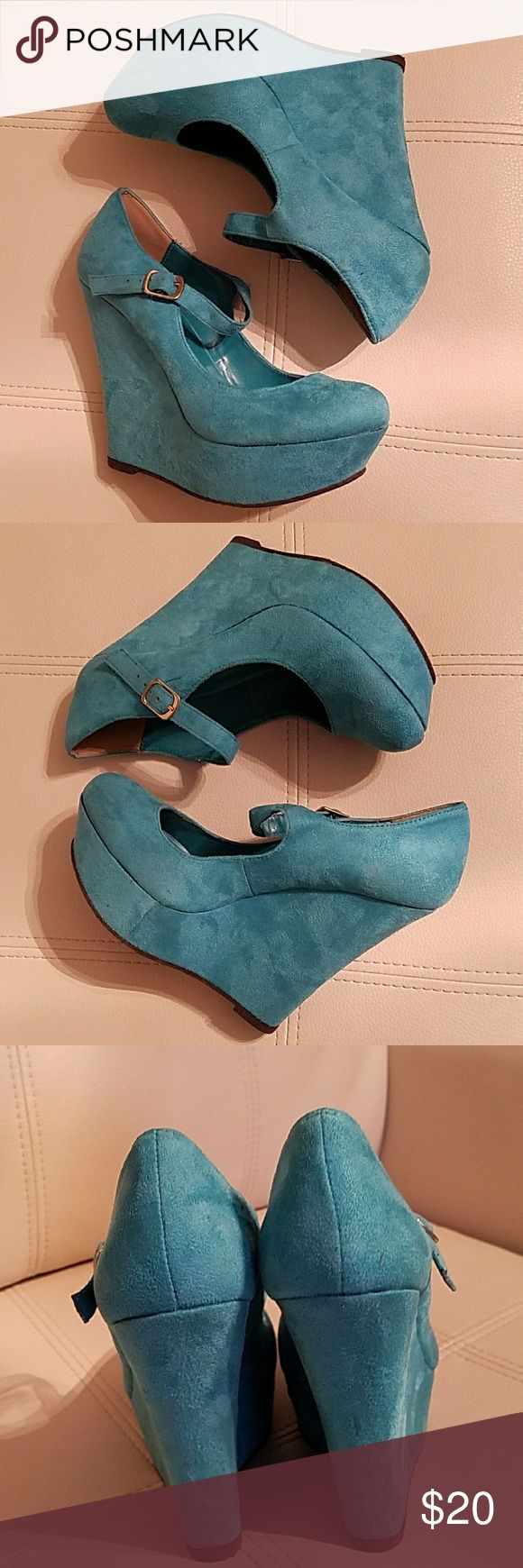 TEAL Wedges Suede with buckle, closed toe, with 5 inch heel, Rock these shoes without worrying about that pedicure that you need :) D Shoes Wedges