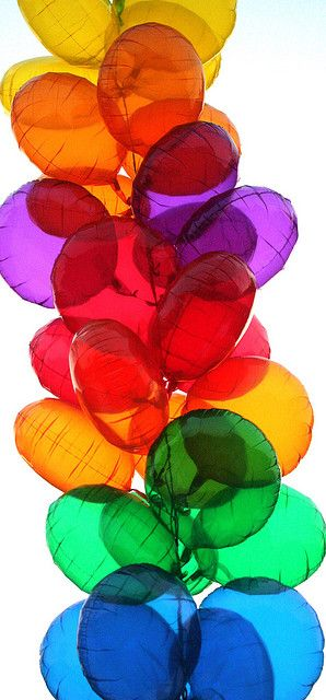 Rainbow colors; how can it not be a party?!? balloons parties