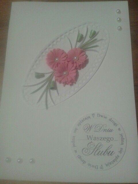 Quilling kartka ślub