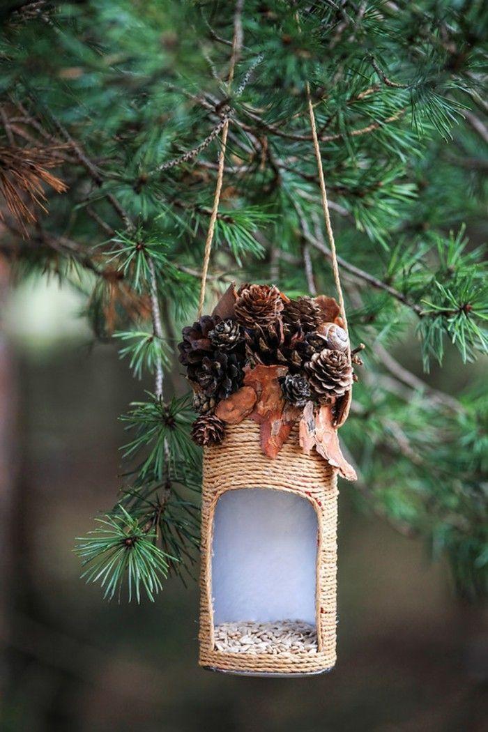 nourriture oiseaux, mangeoire en pommes de pin, feuilles séchées