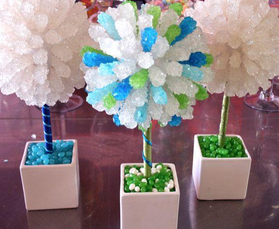 Green Rock Candy Centerpiece Topiary Tree Buffet Decor Arrangement Wedding Mitzvah Party Favor