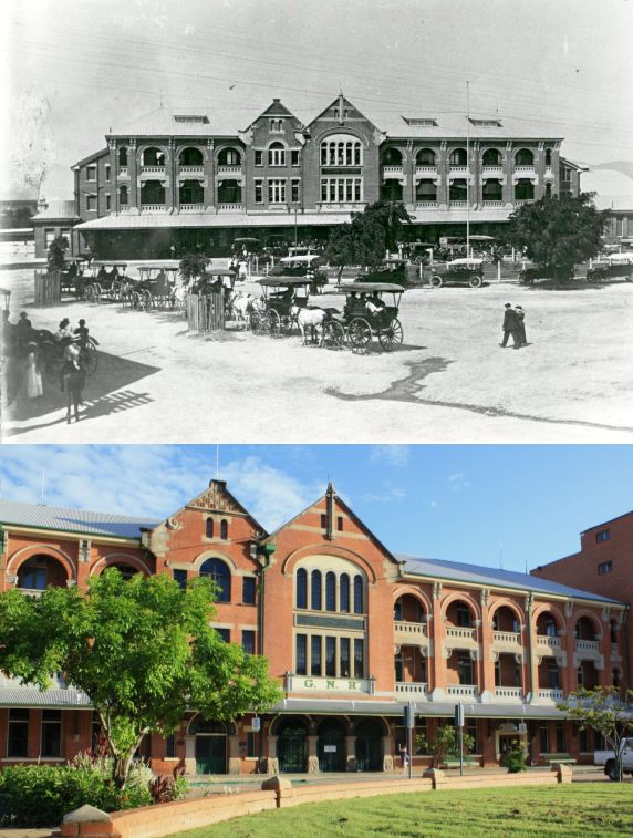 old Townsville Railway Station, Qld - 1913 and now