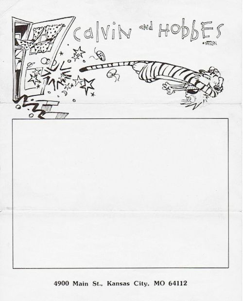 Bill Watterson, 1991 letterhead, as used in the early-90s. Calvin and Hobbes