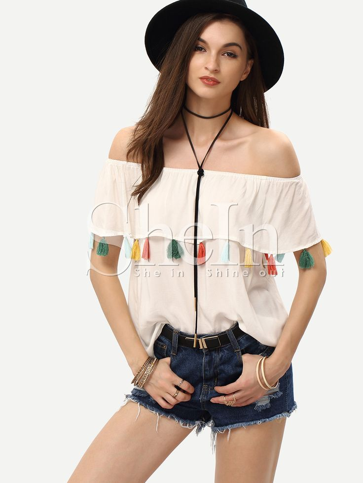 Cream+Off+The+Shoulder+Tassel+Blouse+14.99