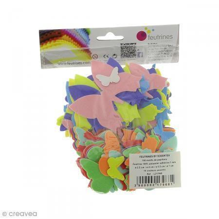 Formes en Feutrine adhésive - Papillons - 150 pcs - Photo n°1