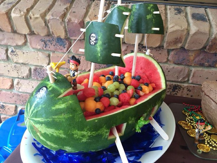 Jake the pirate Watermelon pirate ship Fun food Fruit for kids Party food