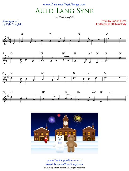 Sheet music for Auld Lang Syne