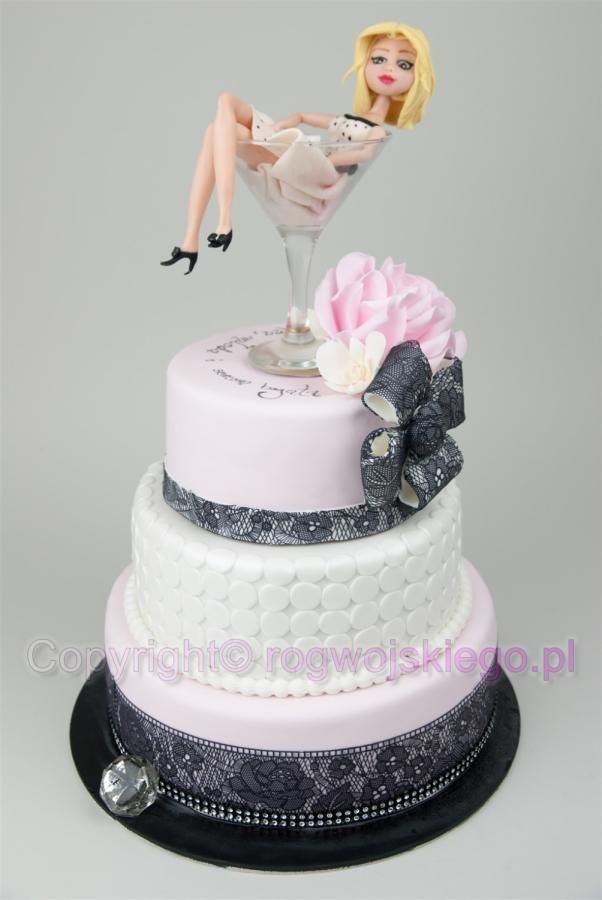 Lady in Martini glass cake / Tort z panią w kieliszku Martini - Cake by Edyta rogwojskiego.pl