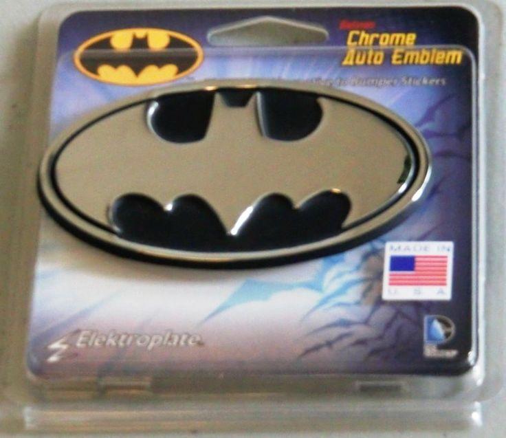 Batman Chrome Metal Auto Emblem Black And Chrome Oval Dc Comics Licensed Batman Batman Car Car Emblem