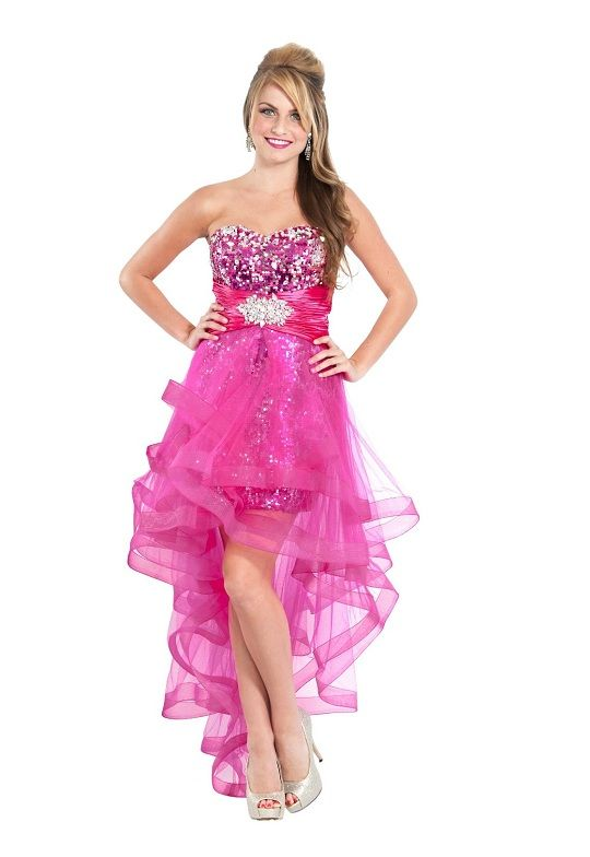Hot pink prom dresses very cute and unique pink high low for Very sparkly wedding dresses