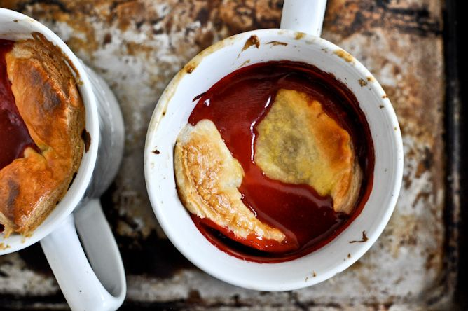 Strawberry Mug Pies--Strawberries and Puff Pastry. In. A. Mug. 'Nuff said.
