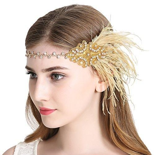 Yellow Silver Feather Headpiece Vintage 1920s Flapper Headband Great Gatsby 1751