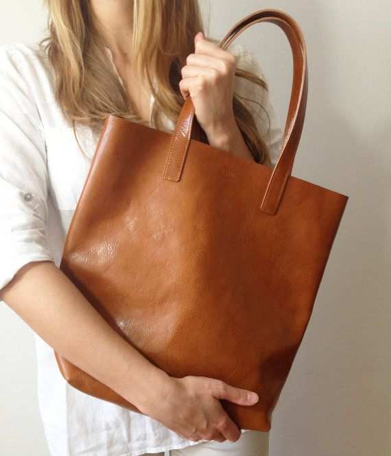 Molly Simple Shopper Light Brown Tote by MISOUI on Etsy, zł960.00